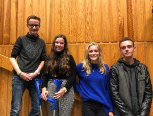 Die Mitglieder des Kreisschülerrates (Finn, Katharina, Kyra, Fenno)